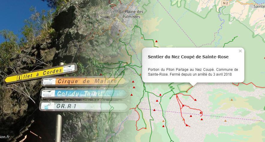 Carte Des Sentiers De Randonnee A La Reunion